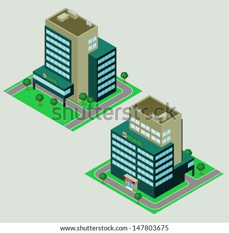 Isometric Hospital - stock vector