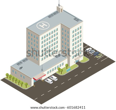 Hospital building flat design stock vector 602785364 shutterstock isometric hospital building malvernweather Images