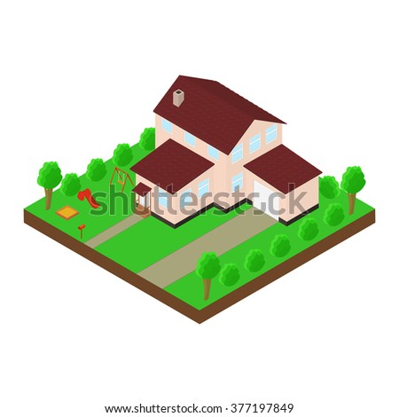 Isometric house 3D icon. Pictograms house with a mailbox, trees, bushes, children's Playground, swing, slide, sandpit, garage