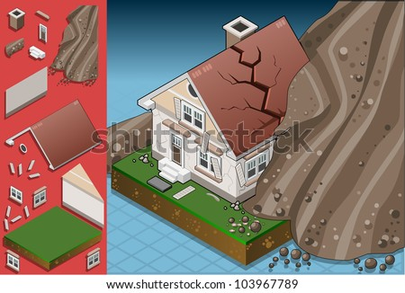 isometric house hit by landslide - stock vector