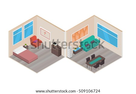 Isometric house rooms home set stock vector 509106724 shutterstock ccuart Image collections