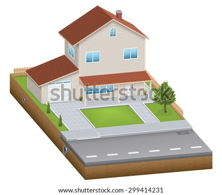 Isometric house with yard - stock vector