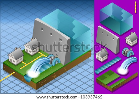 Isometric houses powered by watermill - stock vector