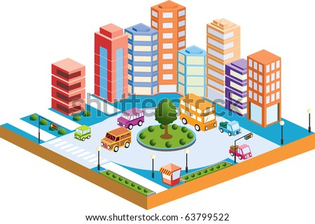 Isometric houses, town houses, skyscrapers and streets made in perspective projection for design sites, business portals and real estate agencies  - stock vector