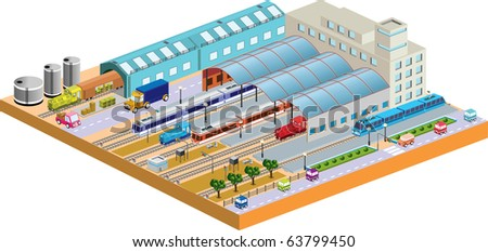 Isometric houses, trains, railroads, skyscrapers and streets made in perspective projection for design sites, business portals and real estate agencies