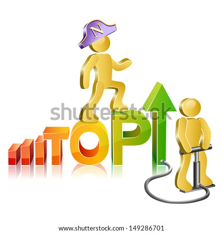 Isometric human suit napoleons moving ladder stock vector 2018 isometric human in a suit napoleons moving up the ladder the word top ccuart Images