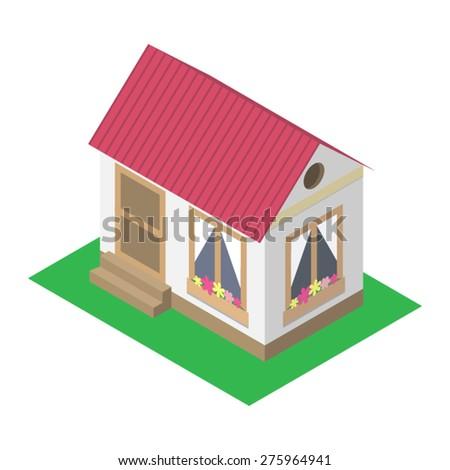 Isometric icon of house - stock vector
