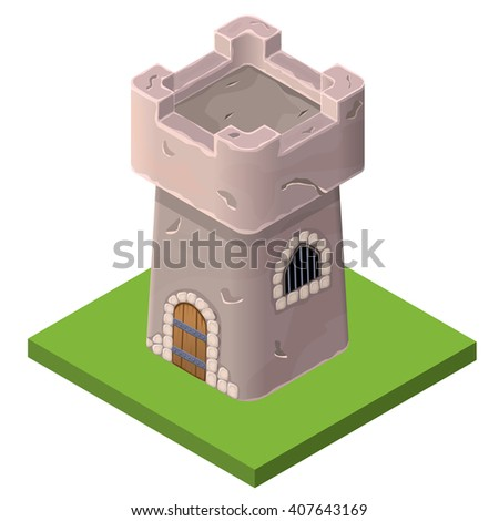Isometric icon of medieval tower or prison. Vector illustration. Stone built fort or castle. - stock vector