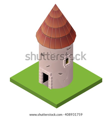 Isometric icon of medieval tower. Vector illustration. Stone built fort or castle. - stock vector