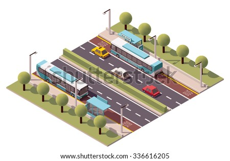 Isometric icon representing bus stop - stock vector