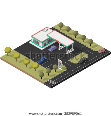 Isometric icon representing small gas station with detailed cars