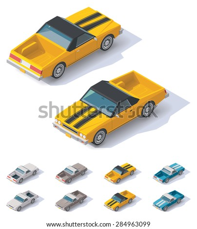 Isometric icon representing utility coupe car - stock vector