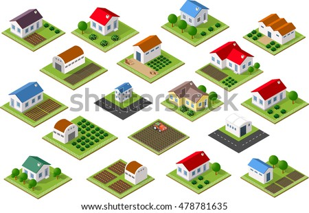 Isometric icon rural countryside with houses, gardens, parks for Web sites and applications