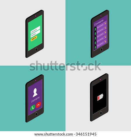 Isometric icon set of mobile phone in flat style. User interface concept - stock vector