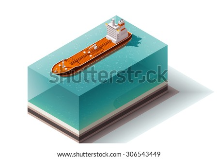 Isometric icon set representing oil carrier - stock vector