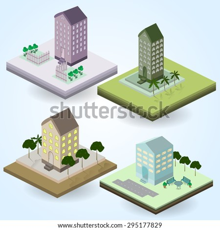 Isometric icons, city building, structure, trees, palms, isolated. - stock vector