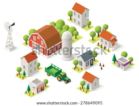 Isometric icons representing rural setting - stock vector