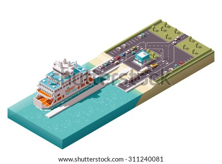 Isometric icons representing unloading ferry in harbor - stock vector