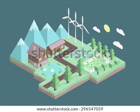 Isometric illustration, eco info graphics - stock vector