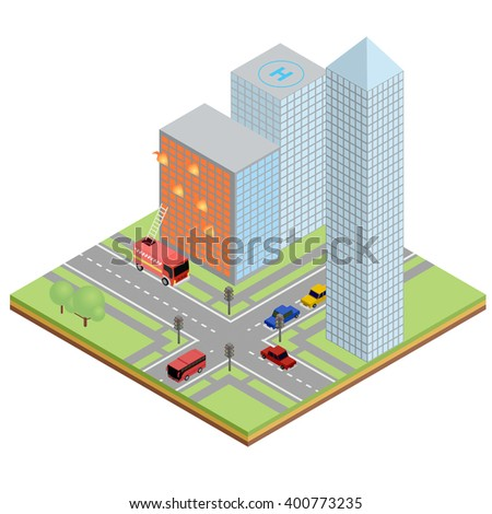 Isometric illustration of fire city. vector concept illustration.