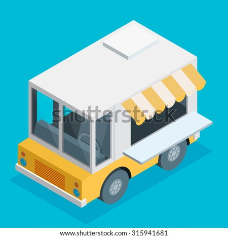 Isometric Illustration of food truck in flat style - stock vector
