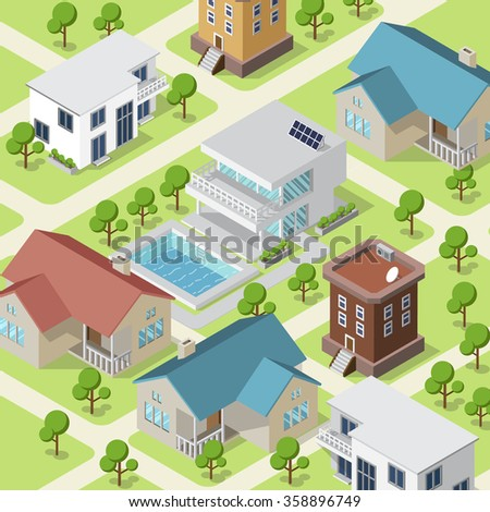 Isometric illustration of small town or village with modern houses and trees on streets. - stock vector