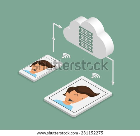 Isometric illustration of synchronization of smartphone and tablet pc via cloud server - stock vector