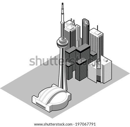 Isometric illustration of the downtown of the city of Toronto, Ontario,Canada. - stock vector