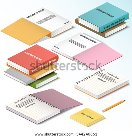 Isometric illustration on a white background with the image of books notebooks notebooks  - stock vector