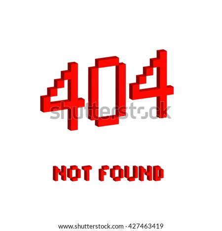 Isometric illustration pixel art 8 bit for website page not found 404 error red color isolated on white background / vector eps 10 - stock vector