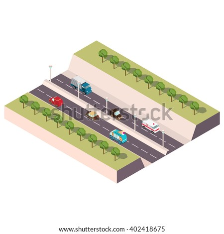 Isometric illustration with the image of the highway with cars and trees. Vector isometric road.Vector Isometric infographic element.