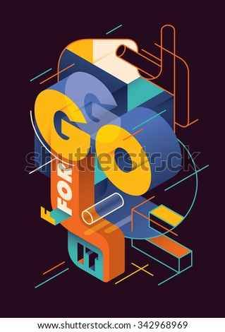 Isometric illustration with typography. Vector illustration. - stock vector