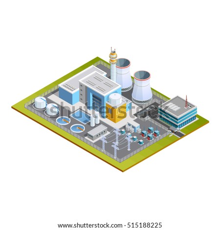 Isometric image of one block nuclear station with production centre conversion block  transformers pipes and office vector illustration