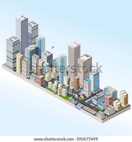 Isometric in a big city with streets, skyscrapers, cars and trees. - stock vector