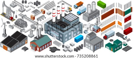 Isometric Industrial Buildings and Objects. Vector Set for Oil, Mine and Energy Industry