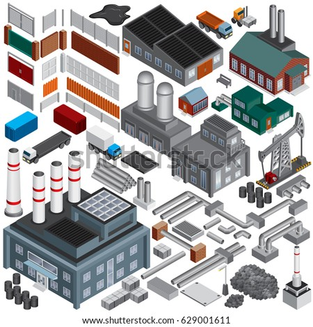 Isometric Industry Buildings. Set of Vector Industrial Objects and Items