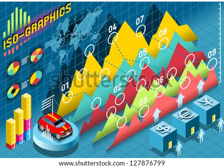 Isometric Infographic  Histogram Set Elements with car - stock vector
