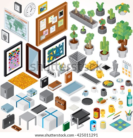 Isometric Interior Objects and Office Items. Vector Collection. Set of Decorations, Books, Frames, Plants, Flowers, Food, Gifts etc.