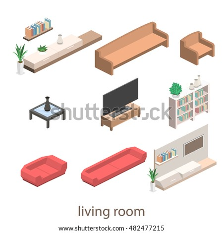 isometric interior of a modern living room. Flat 3D illustration