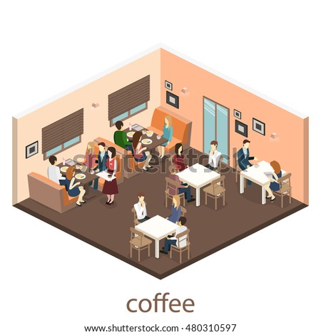 Isometric Interior Coffee Shop Flat 3d Stock Vector