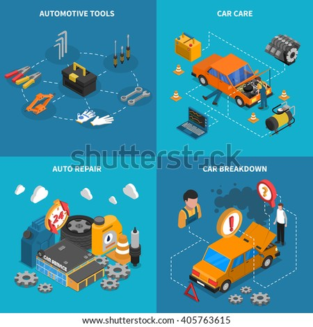Isometric isolated icon set with different stages of service like car care breakdown vector illustration - stock vector