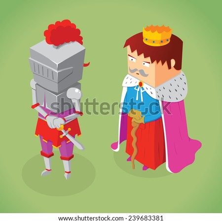 isometric king and knight - stock vector