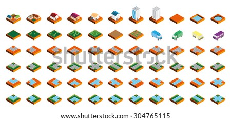Isometric Kit of Buildings Blocks Trees and Houses - Sand Edition - stock vector