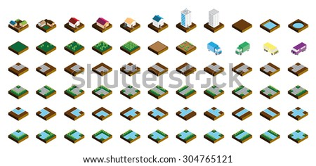 Isometric Kit of Buildings Blocks Trees and Houses - Soil Edition - stock vector