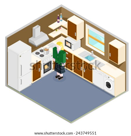 isometric kitchen interior with mother. Isometric Kitchen Interior. - stock vector