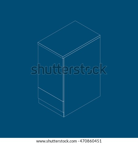 Isometric kitchen narrow cupboard with one door and bottom drawer. Kitchen cabinet in a modern style on blue background. Vector illustration