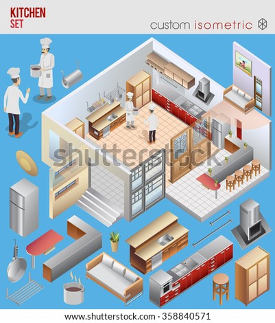Isometric kitchen set vector. custom interior - stock vector