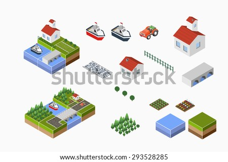 Isometric landscape of countryside with farm, tractor, harvest, the beds and the river. - stock vector