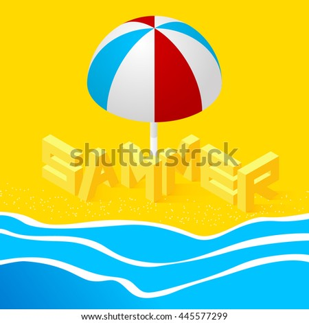 Isometric landscape with the sea and the word summer in the sand on the beach. 3d style. Vector Illustration