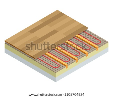 Isometric Layers Infrared Floor Heating System Stock Vector